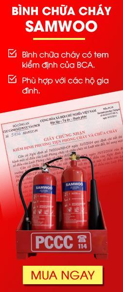 Bình chữa cháy có tem kiểm định của BCA