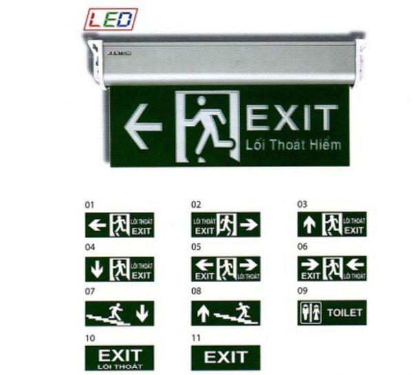 Đèn exit KENTOM 1 mặt nền xanh chỉ hướng