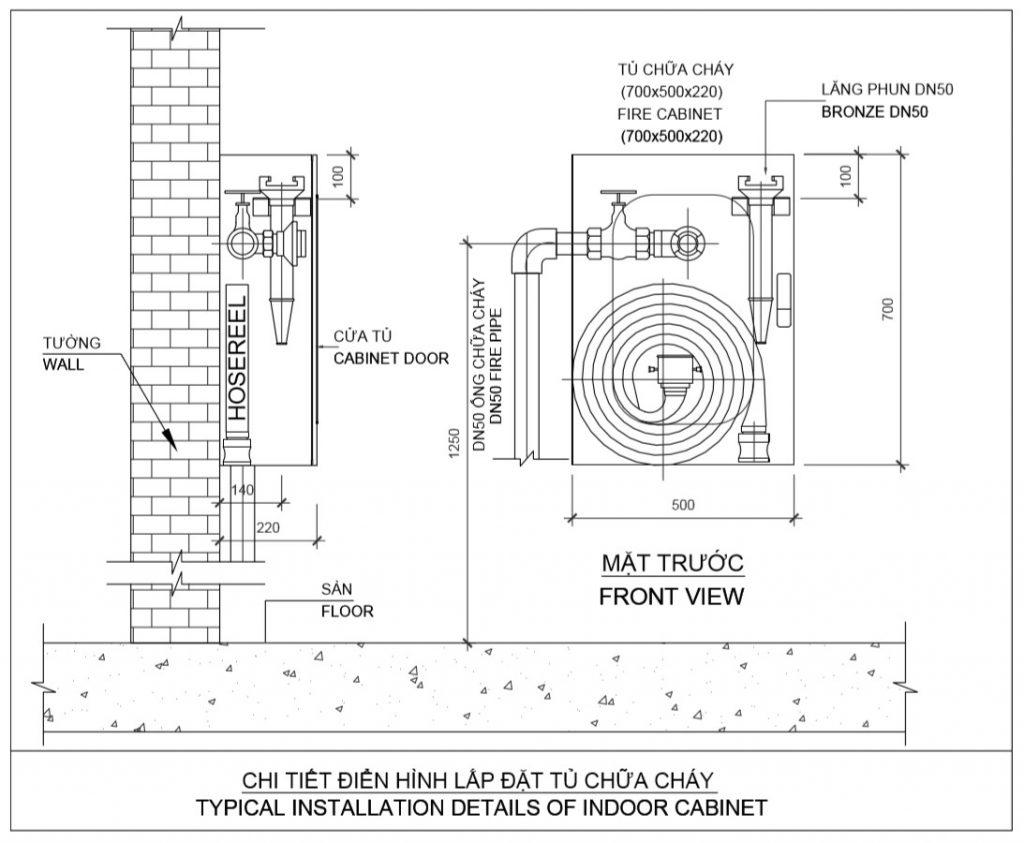 Chi tiết cách lắp đặt tủ chữa cháy